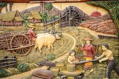 Molding Art of Thai Rural Life Style Stock Photo