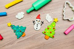 Molding clay for Christmas. Kid education learn and play Stock Photo