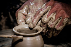 Molding clay pots Stock Images