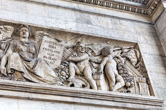 Moldings on the Arc de Triomphe. Paris. France. Royalty Free Stock Photography