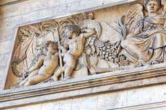 Moldings on the Arc de Triomphe. Paris. France. Stock Photo