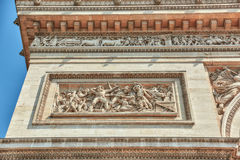 Moldings and decorations on the Arc de Triomphe in  Paris. Franc. E Royalty Free Stock Images