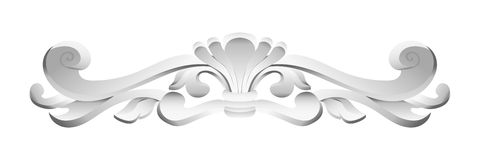 Moldings from plaster. Vector classic floral white pattern, moldings from plaster vector illustration