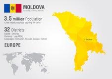 Moldova światowa mapa z piksla diamentu teksturą Obraz Stock