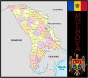 Moldova Administrative divisions. Moldova map flag and coat Royalty Free Stock Photos