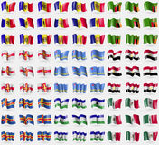 Moldova, Andorra, Zambia, Guernsey, Aruba, Egypt, Aland, Lesothe, Mexico. Big set of 81 flags. Stock Photography