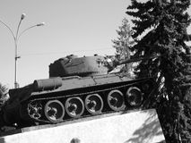 Moldova, Bielce. This photo was taken when we traveled in the city Bielce, in Moldova. It was Saturday afternoon. Photo shows Soviet tank T-34 Stock Photo