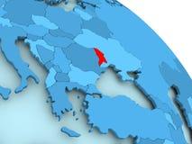 Moldova on blue globe. Moldova highlighted on blue 3D model of political globe. 3D illustration Royalty Free Stock Images