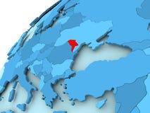 Moldova on blue globe. Moldova in red on blue model of political globe. 3D illustration Royalty Free Stock Image