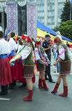 Moldova, Chisinau, Dia da Independência, quadrado do conjunto nacional, n Imagem de Stock