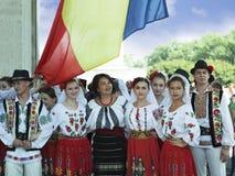Moldova, Chisinau, Dia da Independência, quadrado do conjunto nacional, n Imagens de Stock