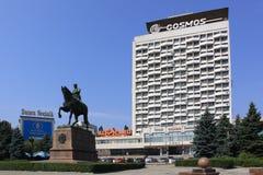 Moldova Chisinau Hotel Cosmos and Monument of Kotovsky Stock Image