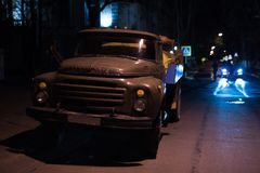 Moldova, Chisinau - 28 march 2017: Soviet zil truck on night road royalty free stock images