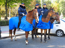 14.10.2016, Moldova, Chisinau, three policeman on horses Royalty Free Stock Images