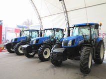 18.03.2017, Moldova, Chisinev: New tractors at a farmer`s exhibi Royalty Free Stock Image