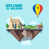Moldova country infographic map in 3d. With country shape flying in the sky with clouds, big flag in a colored balloon with landmarks. Digital vector image Stock Illustration