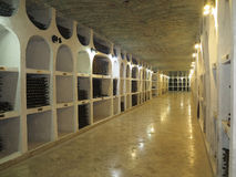 3.10.2015, Moldova, Cricova. Big underground wine cellar with co Royalty Free Stock Images