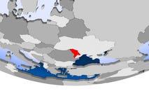 Moldova on globe. Moldova on 3D model of political globe with transparent oceans. 3D illustration Royalty Free Stock Photography
