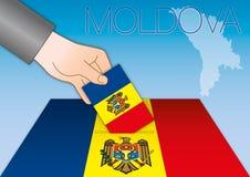 Moldova, elections, ballot box with flags Stock Photo