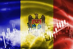 Moldova flag, stock market, exchange economy and Trade, oil production, container ship in export and import business and logistics. Background, banner, candle royalty free illustration