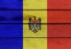 Moldova flag on a wood Royalty Free Stock Photography