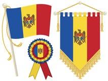 Moldova flags. Moldova flag, rosette and pennant, isolated on white Stock Photo
