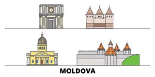 Moldova flat landmarks vector illustration. Moldova line city with famous travel sights, skyline, design. Moldova flat landmarks vector illustration. Moldova royalty free illustration