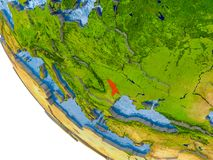 Moldova on globe. Map of Moldova in red on globe with real planet surface, embossed countries with visible country borders and water in the oceans. 3D Stock Image