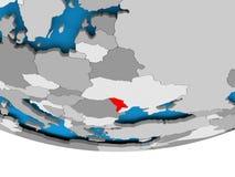 Moldova on globe Stock Image