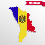 Moldova map with flag inside and ribbon Stock Photo