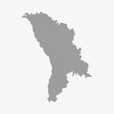 Moldova map in gray on a white background. Moldova  map in gray on a white background Royalty Free Stock Photo