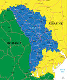 Moldova map. Highly detailed vector map of Moldova with administrative regions, main cities and roads Stock Photo