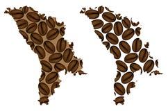 Moldova - mapa do feijão de café ilustração stock