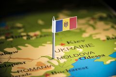 Moldova marked with a flag on the map.  royalty free stock images