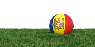 Moldova Moldovan flag soccer ball lying in grass world cup 2018. Isolated on white background. 3D Rendering, Illustration Royalty Free Stock Images