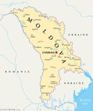 Moldova Political Map. With capital Chisinau, national borders, important cities, rivers and lakes. English labeling and scaling. Illustration Royalty Free Stock Photo
