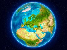 Moldova on Earth. Moldova in red from Earth's orbit. 3D illustration. Elements of this image furnished by NASA Stock Photography