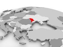Moldova on grey globe Royalty Free Stock Photo