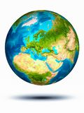 Moldova on Earth with white background. Moldova in red on model of planet Earth hovering in space. 3D illustration isolated on white background. Elements of this stock image