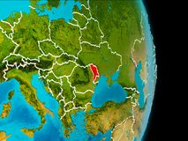 Moldova on Earth. Moldova in red on planet Earth with visible borderlines. 3D illustration. Elements of this image furnished by NASA Stock Photos