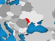 Map of Moldova. Moldova in red on political map. 3D illustration Stock Photos