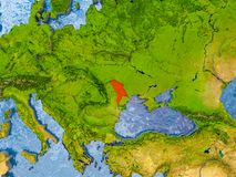 Map of Moldova. Moldova in red on realistic map with embossed countries. 3D illustration. Elements of this image furnished by NASA Royalty Free Stock Photography
