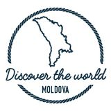 Moldova, Republic of Map Outline. Vintage Discover the World Rubber Stamp with Moldova, Republic of Map. Hipster Style Nautical Rubber Stamp, with Round Rope Stock Images