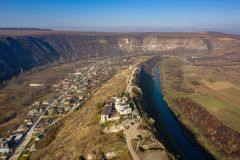 Moldova Republic tourism attraction the Old Orhei village and the Orhei Orthodox Monastery. Aerial photography of Old Orhei and Butuceni Villages in Moldova royalty free stock photos