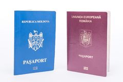 Moldova and Romania foreign passports. Dual citizenship, passports Royalty Free Stock Images