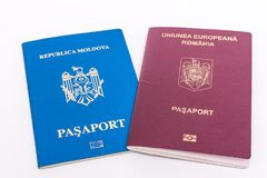Moldova and Romania foreign passports. Dual citizenship, passports Stock Images