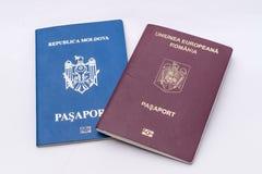 Moldova and Romania foreign passports. Dual citizenship, passports Stock Photo