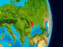 Moldova from space. Country of Moldova in red on planet Earth. 3D illustration. Elements of this image furnished by NASA Royalty Free Stock Images