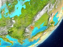 Moldova from space. Satellite view of Moldova highlighted in red on planet Earth with clouds. 3D illustration. Elements of this image furnished by NASA Royalty Free Stock Photography