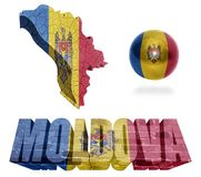 Moldova Symbols. Moldova flag and map in different styles in different textures Royalty Free Stock Photography